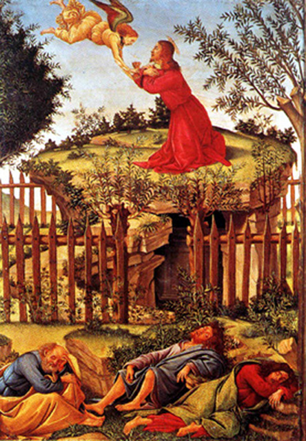 Alessandro Botticelli of Florence, Italy - Christ praying in the Garden of Gethsemane, Museo de la Capilla Real, Granada, Spain, 1500.