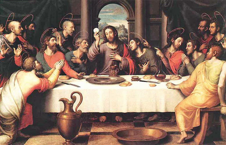 Juan de Juanes of Valencia, Spain - The Institution of the Eucharist at the Last Supper, Museo del Prado, Madrid, 1560.