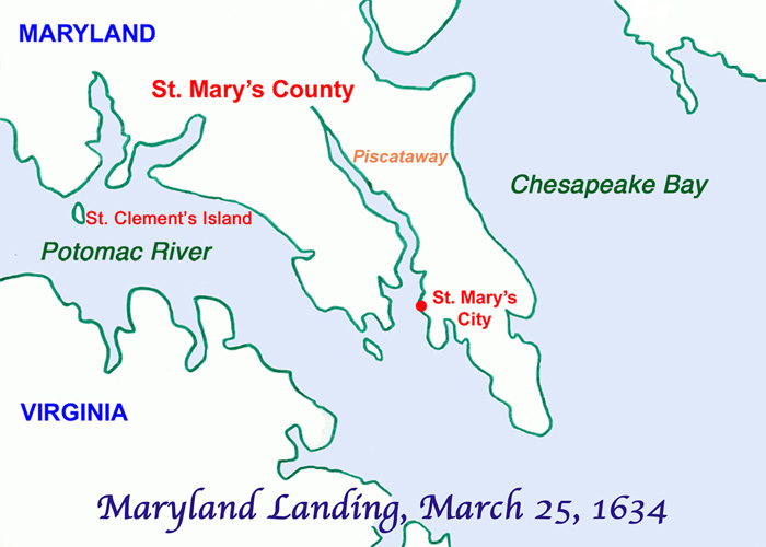 Map of the landing sites of the first settlers in Maryland on March 25, 1634, now called Maryland Day.