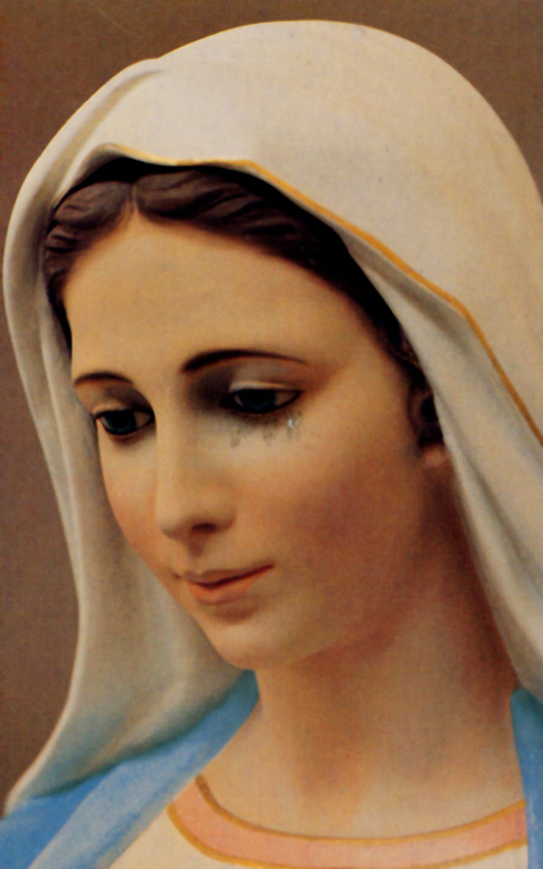 A postcard of Our Lady of Tihaljina from Medjugorje, Bosnia-Hercegovina, that arrived with the impression of tears.