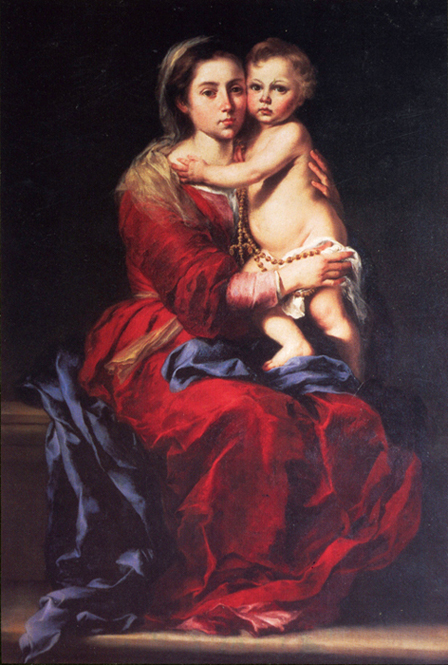 Bartolomé Esteban Murillo of Seville, Spain - Virgin Mary and Christ Child with the Rosary, Prado, Madrid, 1652.