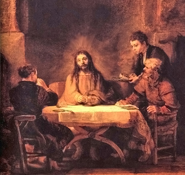 Rembrandt van Rijn of Leiden, Netherlands - The Supper at Emmaus (Luke 24:29-31), Musee du Louvre, Paris, 1648.