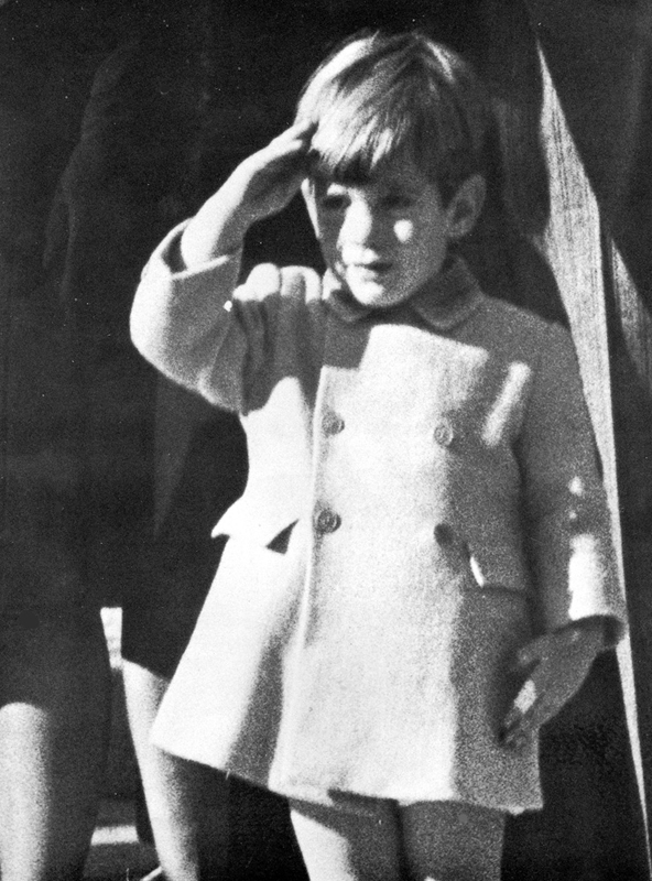 This photograph of John-John Kennedy saluting his late father, President John F. Kennedy, captured the grief of our mourning nation.  This iconic photograph was taken by Stan Stearns, an UPI photographer, in the funeral procession outside St. Matthew's Cathedral in Washington, D. C. on November 25, 1963, 3 days after the President's assassination in Dealey Plaza in Dallas, Texas.  This copyrighted photograph is published here with his permission.