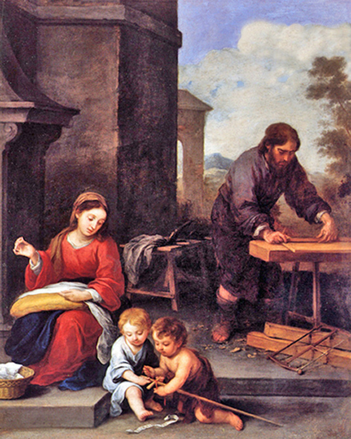 Bartolomé Esteban Murillo of Seville, Spain - St. Joseph and the Holy Family in his Carpenter Shop with John the Baptist, Szépmûvészeti Múzeum, Budapest, Hungary, 1658.