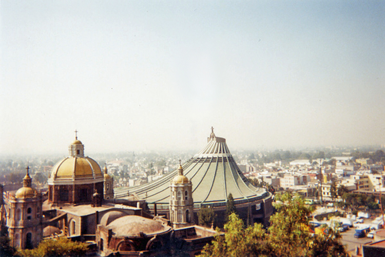The view from the original Chapel on Tepeyac Hill of the New (center) and the Old (left) Basilicas.