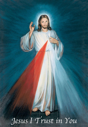 Divine Mercy image, the original by Eugene Kazimierowski at the direction of Sister Faustina of Poland, Vilnius, 1934.