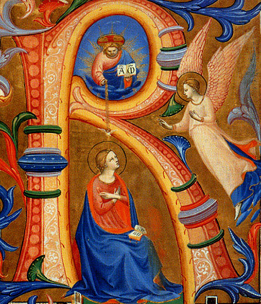 Fra Angelico - Annunciation to Mary, On Parchment from a Missal, Museo di San Marco dell'Angelico, Florence, Italy, 1435.