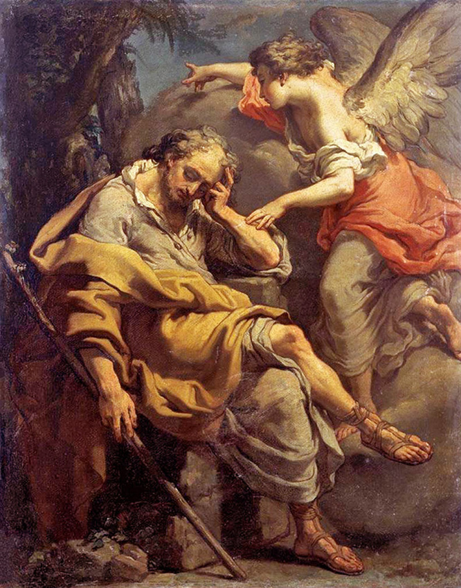 Gaetano Gandolfi of Bologna, Italy - An Angel of the Lord appears to St. Joseph in a dream, Private Collection, Web Gallery of Art, 1790.